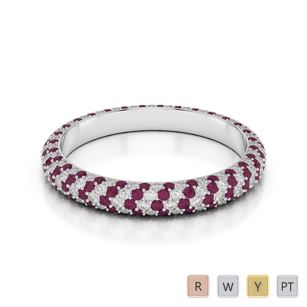 9 KT White Gold Diamond & Ruby Full Eternity Ring AGDR-1115 K1/2 - L