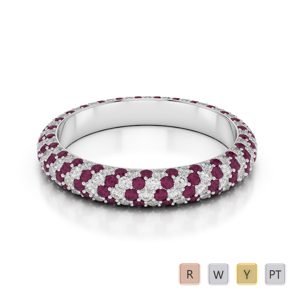 4 MM Gold / Platinum Round Cut Ruby and Diamond Full Eternity Ring AGDR-1116