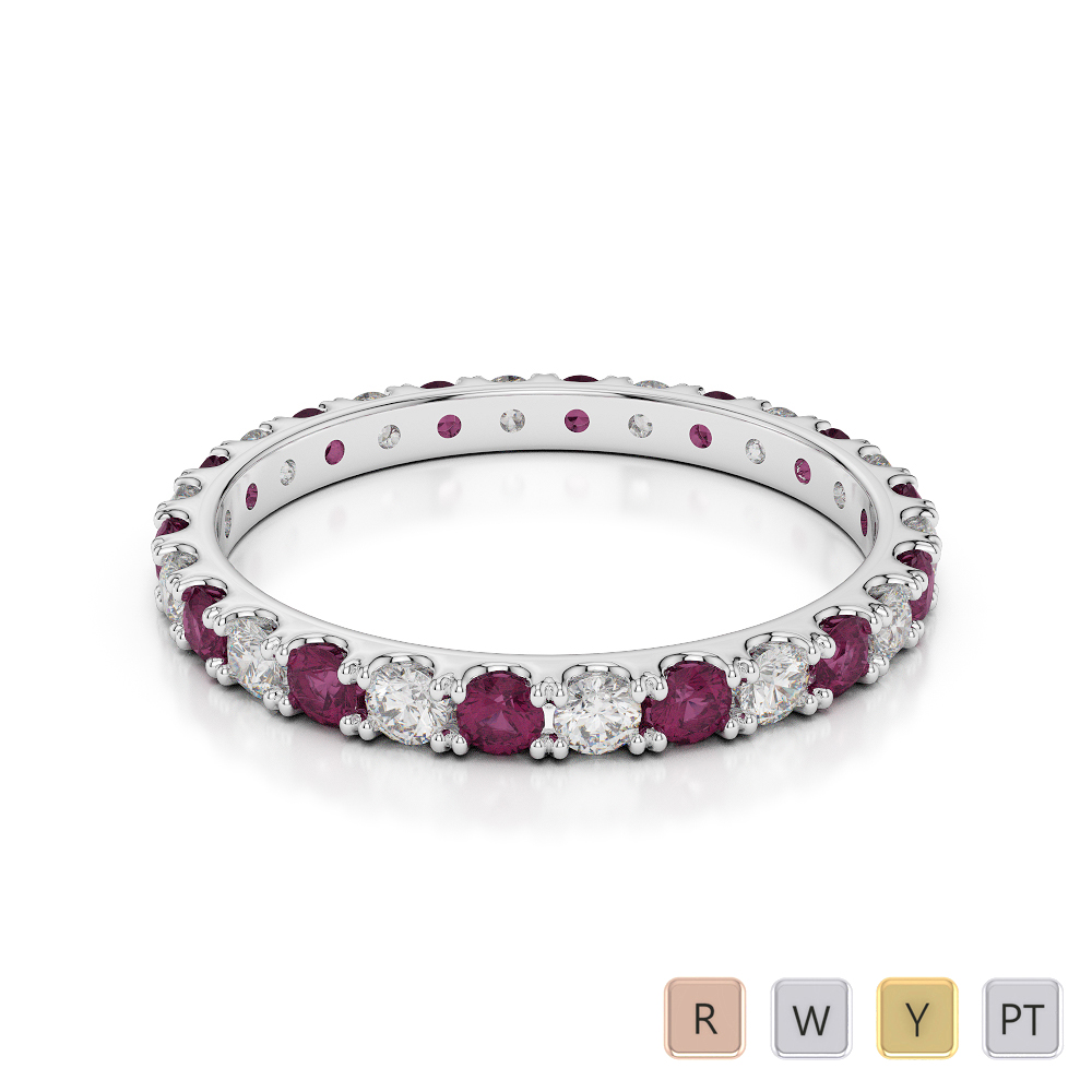 2 MM Gold / Platinum Round Cut Ruby and Diamond Full Eternity Ring AGDR-1120