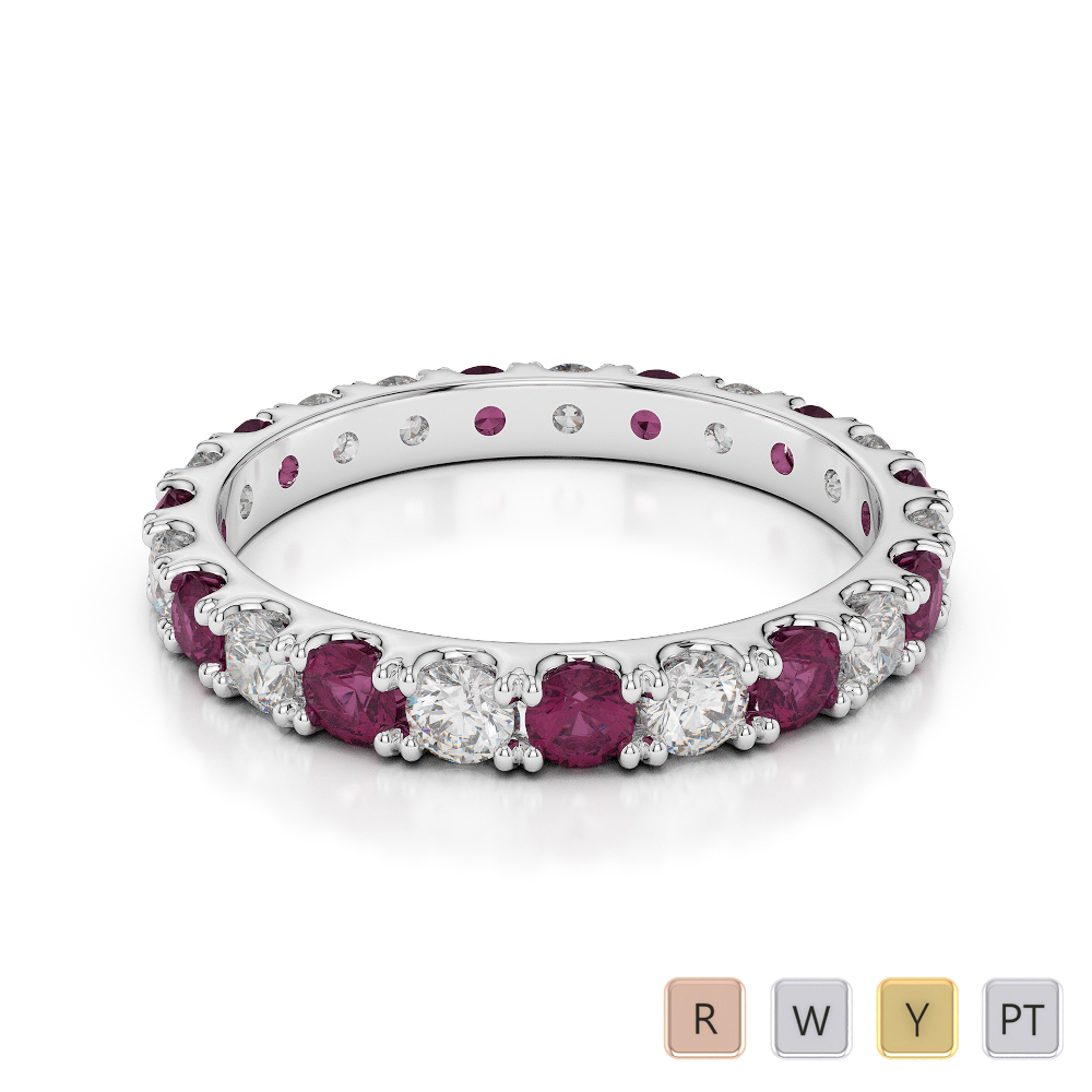 2.5 MM Gold / Platinum Round Cut Ruby and Diamond Full Eternity Ring AGDR-1121
