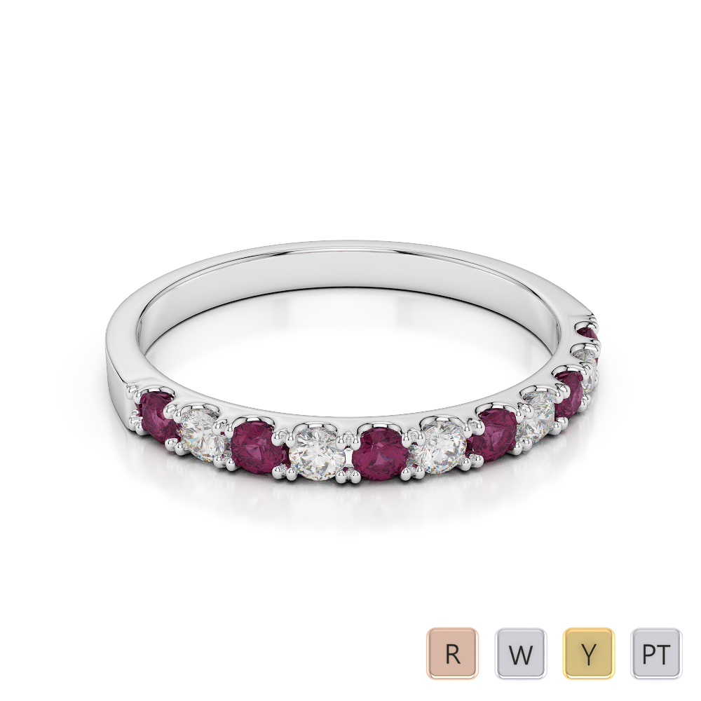 2 MM Gold / Platinum Round Cut Ruby and Diamond Half Eternity Ring AGDR-1123