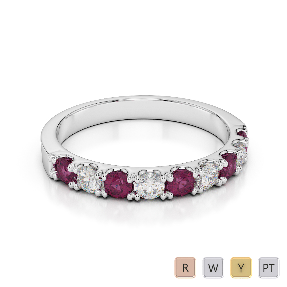 2.5 MM Gold / Platinum Round Cut Ruby and Diamond Half Eternity Ring AGDR-1124