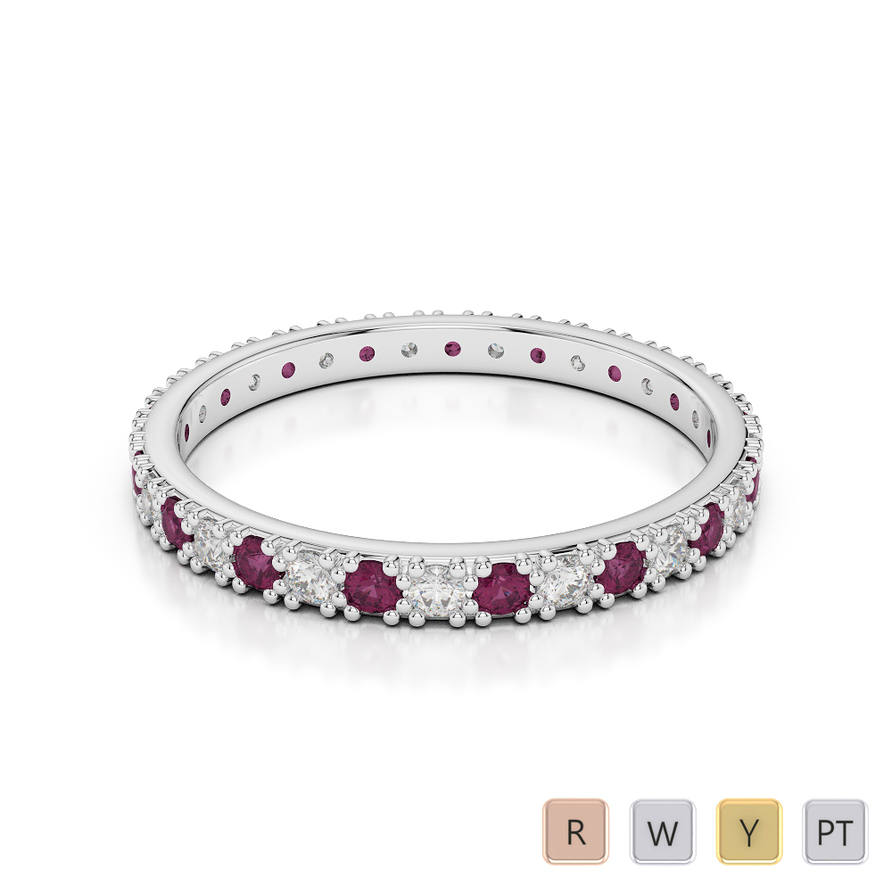 2 MM Gold / Platinum Round Cut Ruby and Diamond Full Eternity Ring AGDR-1126