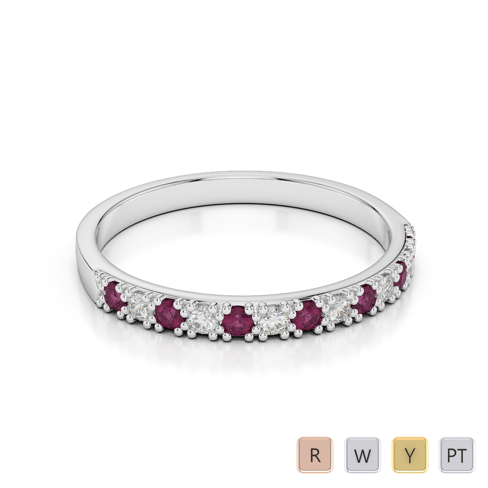 2.5 MM Gold / Platinum Round Cut Ruby and Diamond Half Eternity Ring AGDR-1129