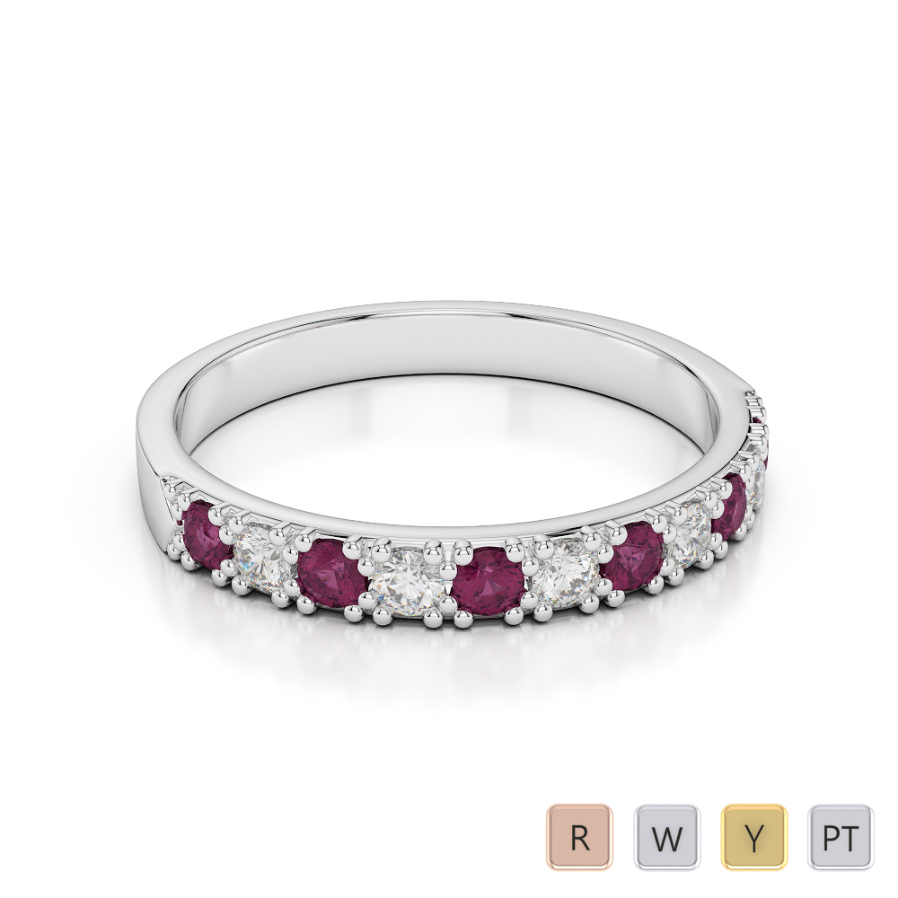 3 MM Gold / Platinum Round Cut Ruby and Diamond Half Eternity Ring AGDR-1130