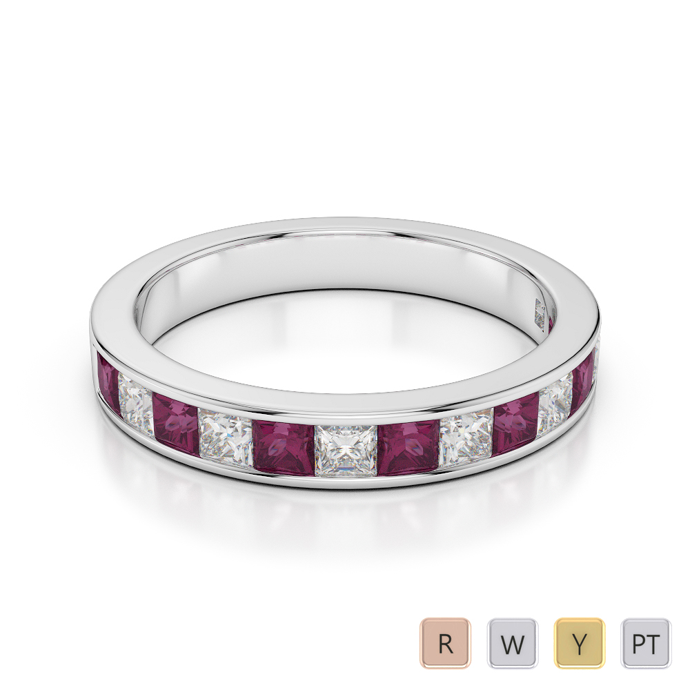 3 MM Gold / Platinum Princess Cut Ruby and Diamond Half Eternity Ring AGDR-1136