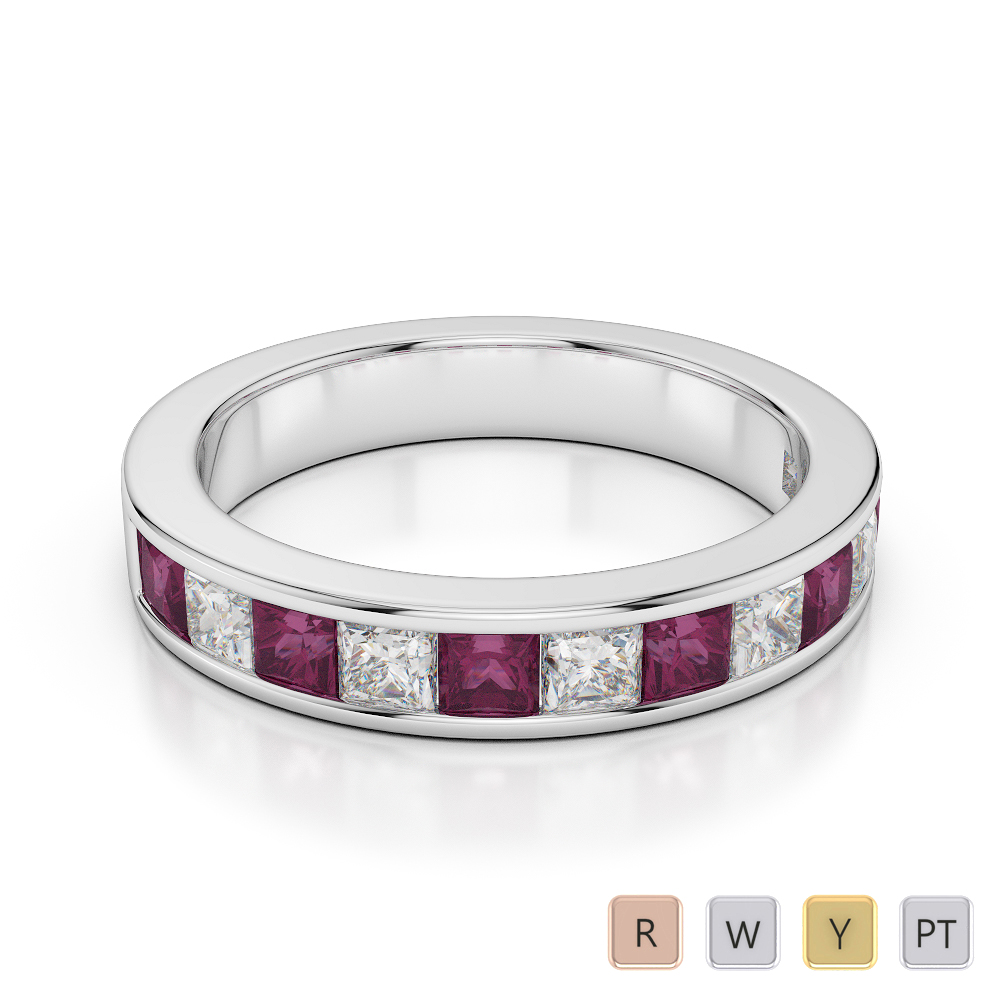 4 MM Gold / Platinum Princess Cut Ruby and Diamond Half Eternity Ring AGDR-1137