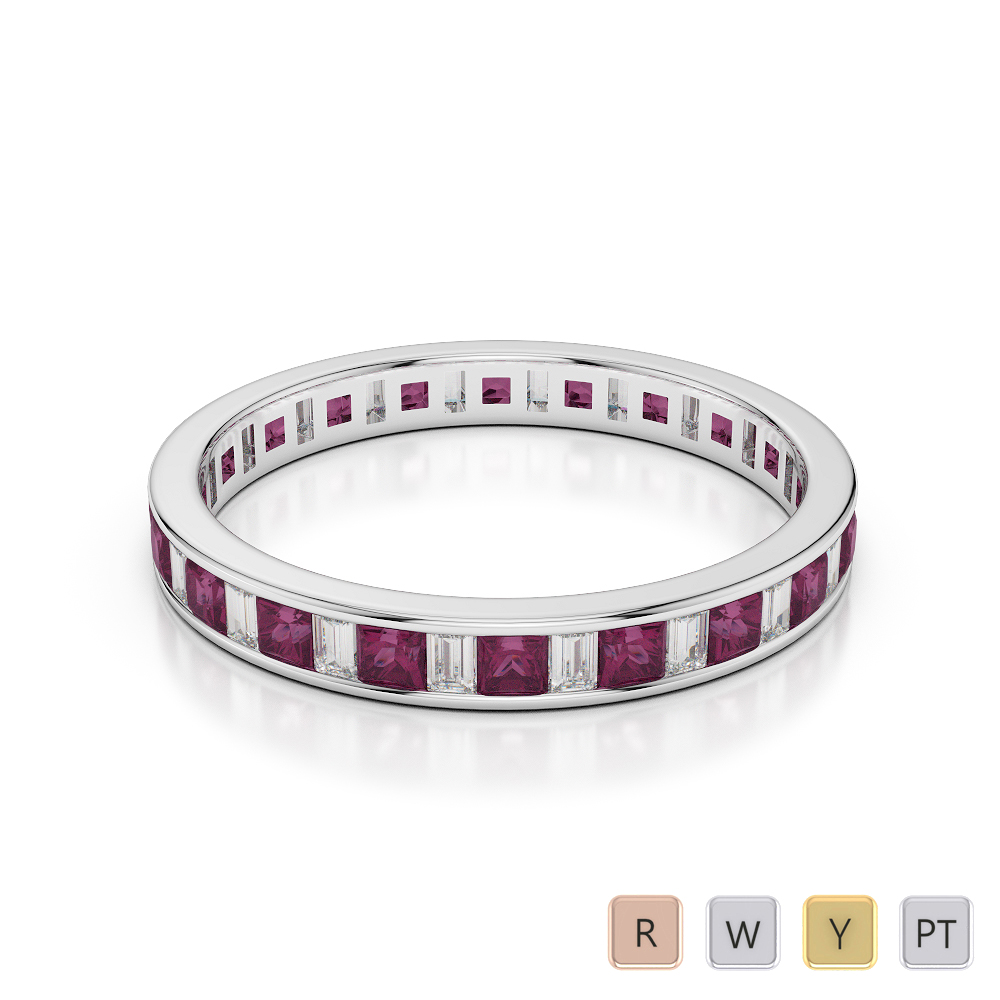 3 MM Gold / Platinum Princess and Baguette Cut Ruby and Diamond Full Eternity Ring AGDR-1140