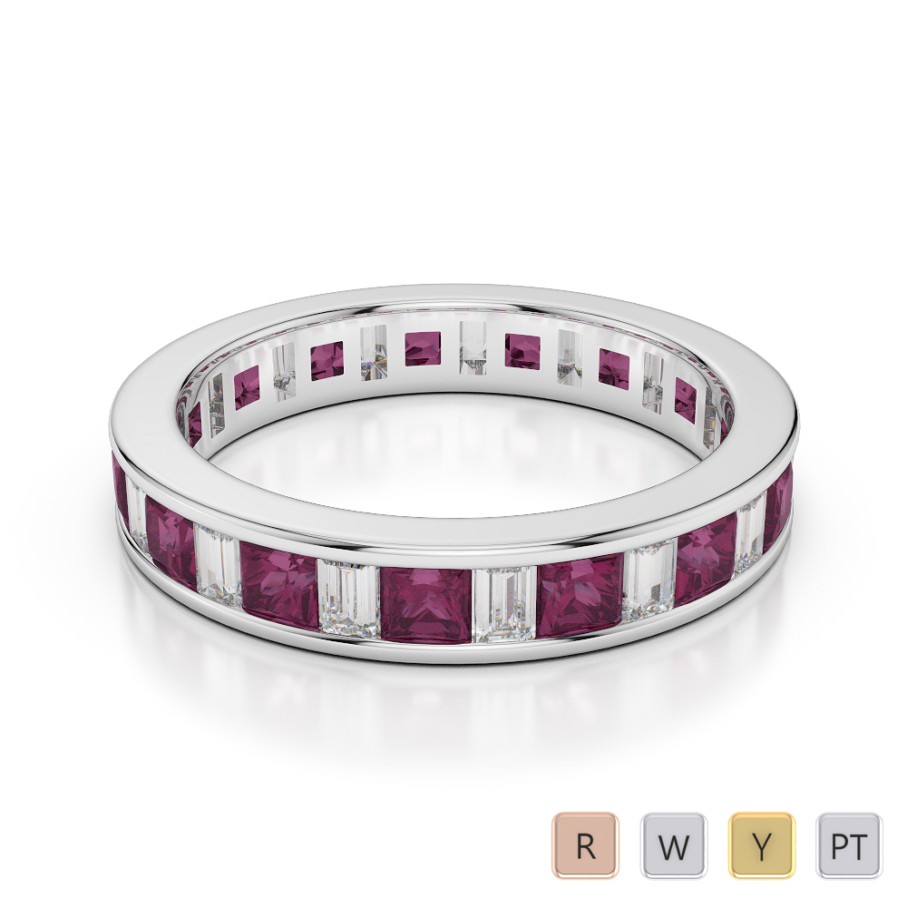 4 MM Gold / Platinum Princess and Baguette Cut Ruby and Diamond Full Eternity Ring AGDR-1141