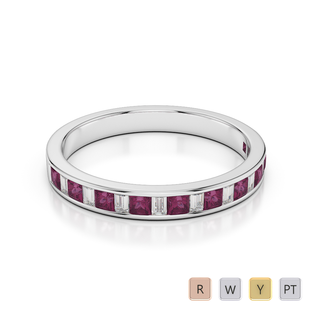 3 MM Gold / Platinum Princess and Baguette Cut Ruby and Diamond Half Eternity Ring AGDR-1142