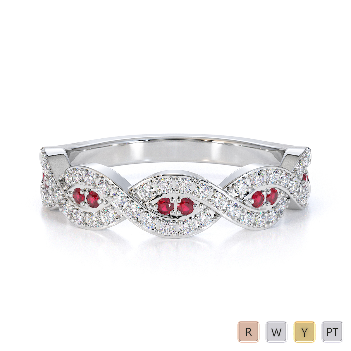 Gold / Platinum Ruby and Diamond Half Eternity Ring RZ1499