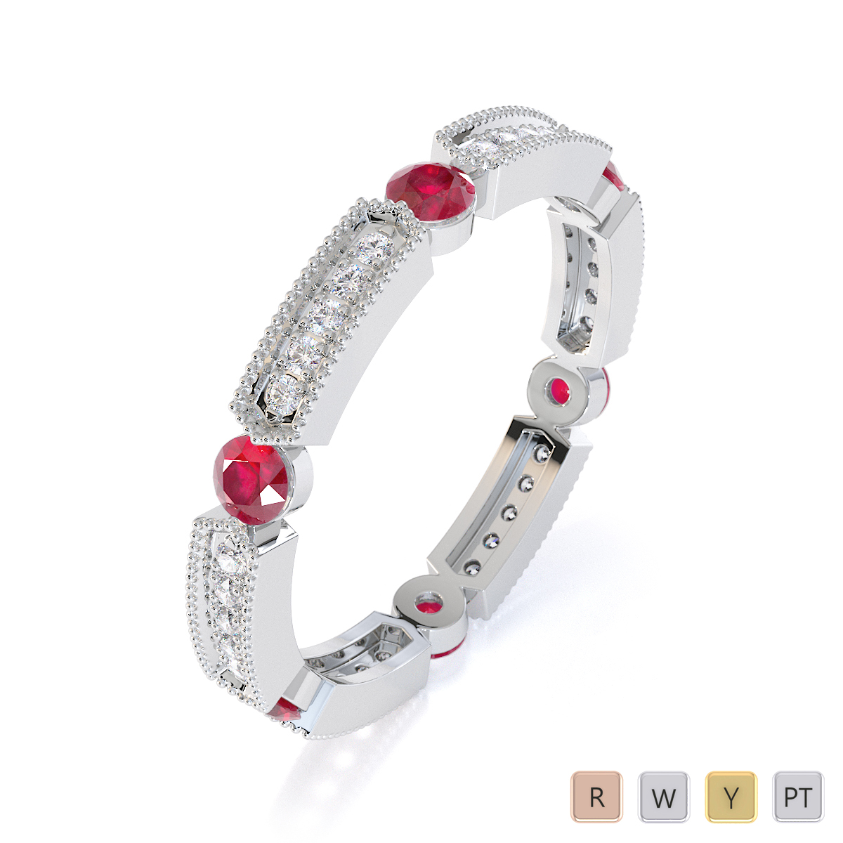 Gold / Platinum Ruby and Diamond Full Eternity Ring RZ1500