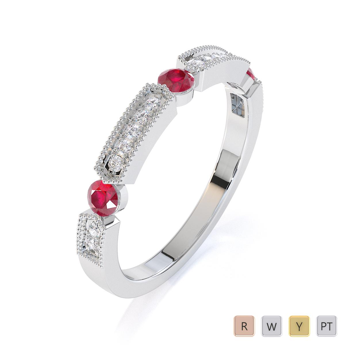 Gold / Platinum Ruby and Diamond Half Eternity Ring RZ1501