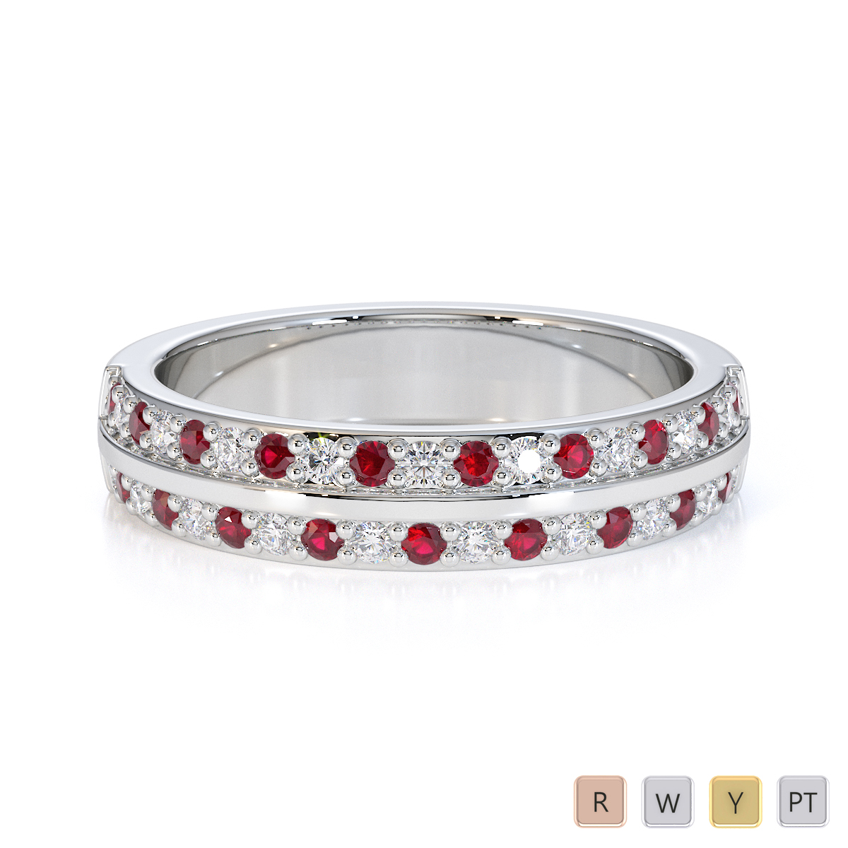 Gold / Platinum Ruby and Diamond Half Eternity Ring RZ1505