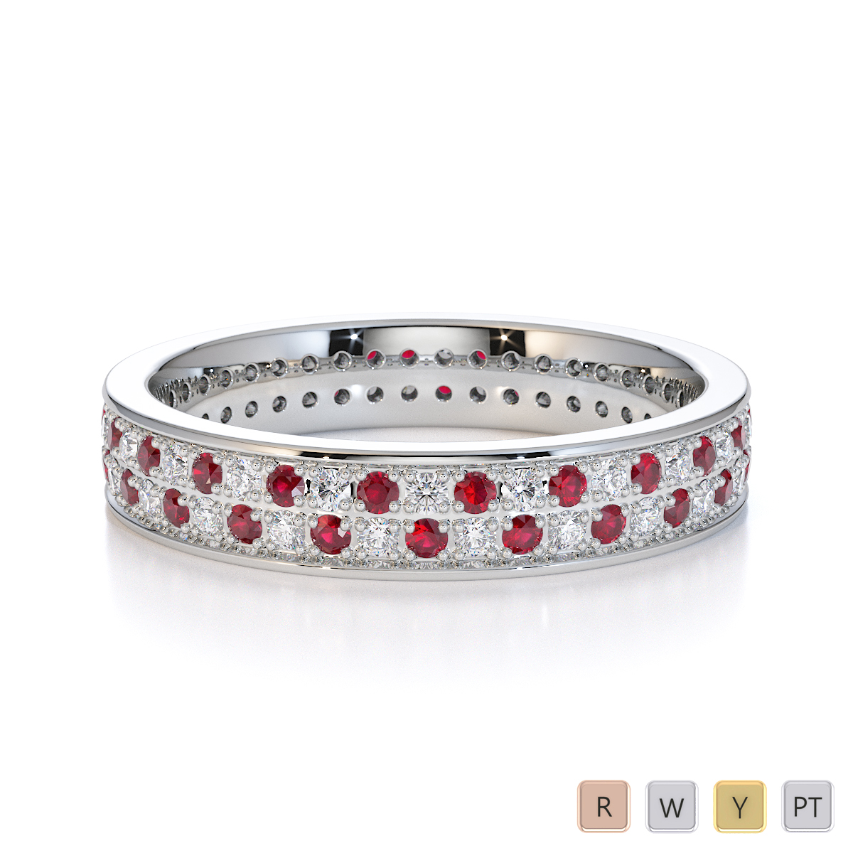 Gold / Platinum Ruby and Diamond Full Eternity Ring RZ1506