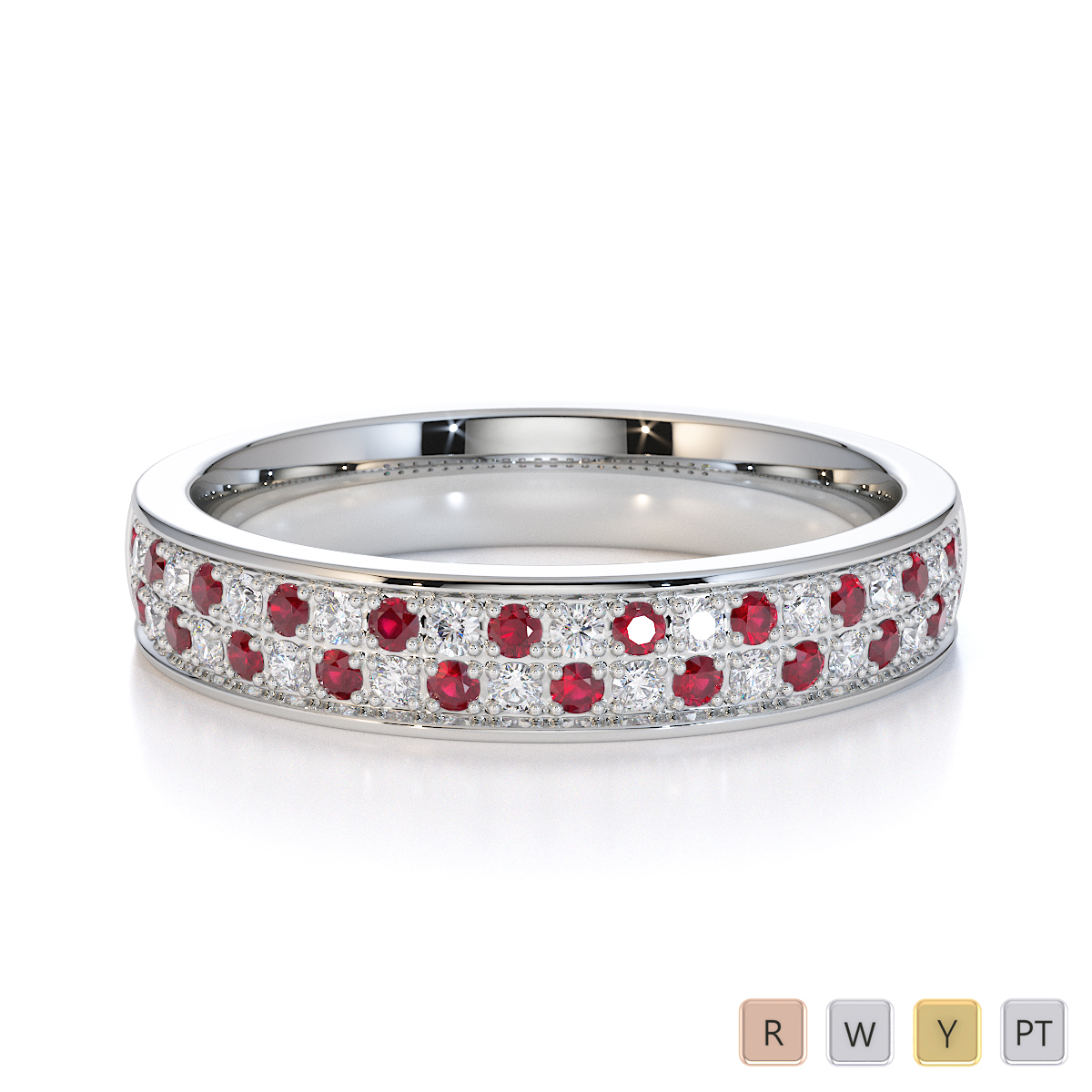 Gold / Platinum Ruby and Diamond Half Eternity Ring RZ1507