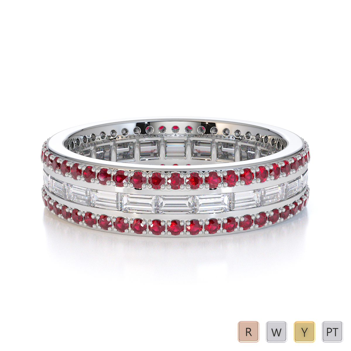 Gold / Platinum Ruby and Diamond Full Eternity Ring RZ1508