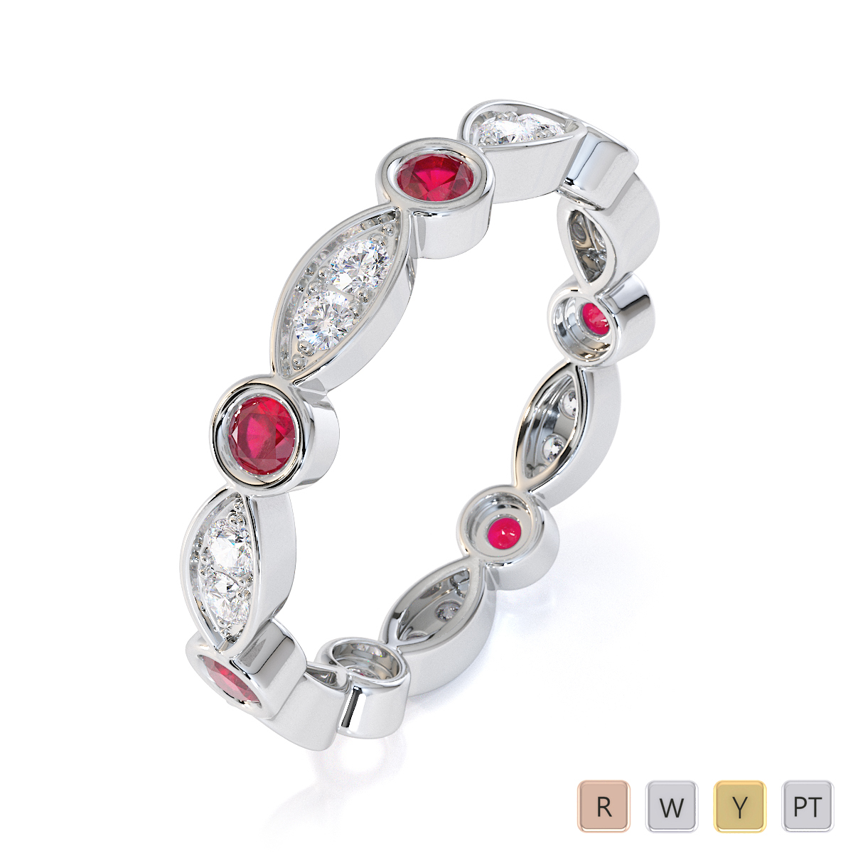 Gold / Platinum Ruby and Diamond Full Eternity Ring RZ1510