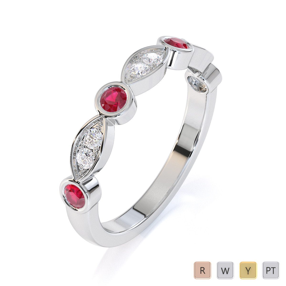 Gold / Platinum Ruby and Diamond Half Eternity Ring RZ1511