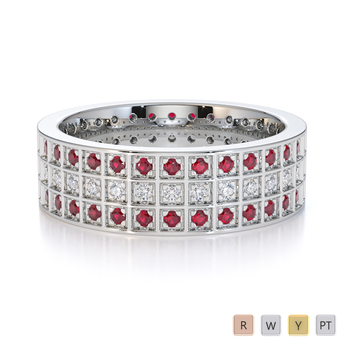 Gold / Platinum Ruby and Diamond Full Eternity Ring RZ1512