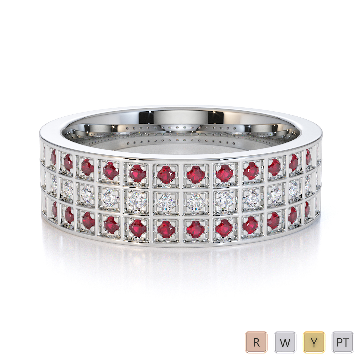 Gold / Platinum Ruby and Diamond Half Eternity Ring RZ1513