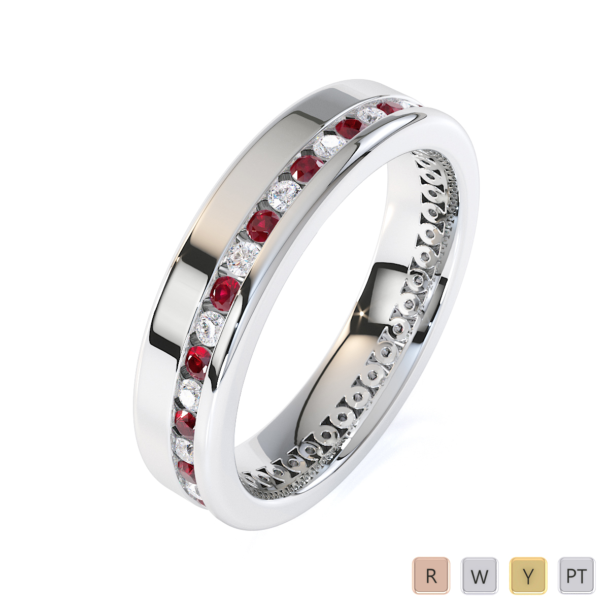 Gold / Platinum Ruby and Diamond Full Eternity Ring RZ1514