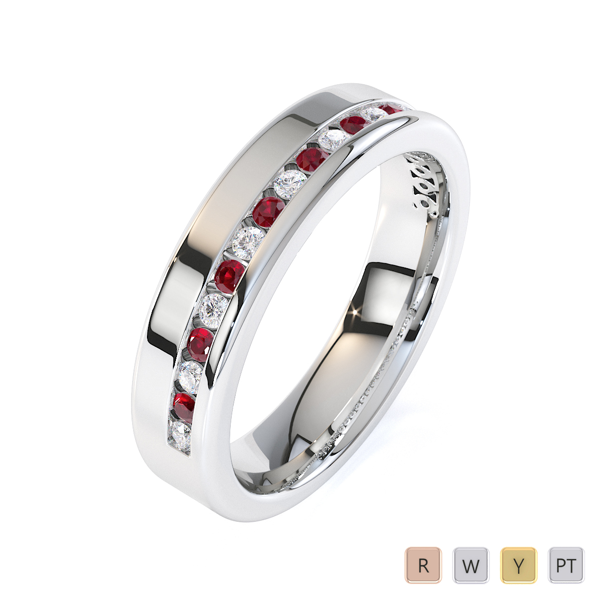 Gold / Platinum Ruby and Diamond Half Eternity Ring RZ1515