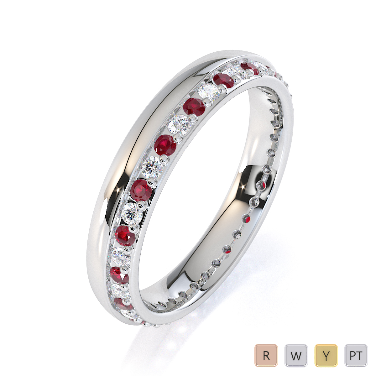 Gold / Platinum Ruby and Diamond Full Eternity Ring RZ1516