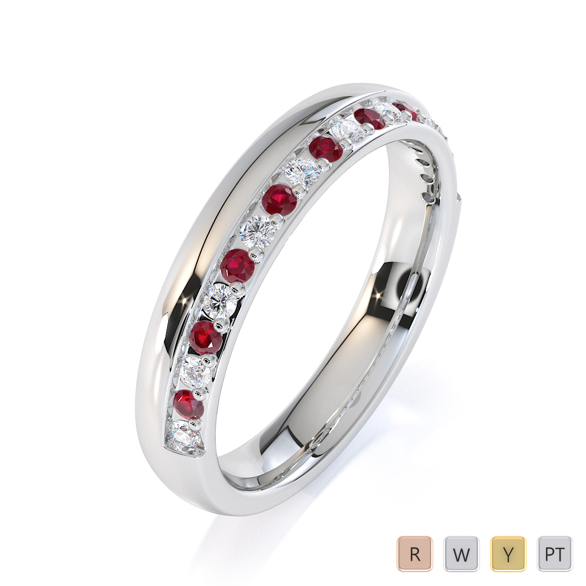 Gold / Platinum Ruby and Diamond Half Eternity Ring RZ1517