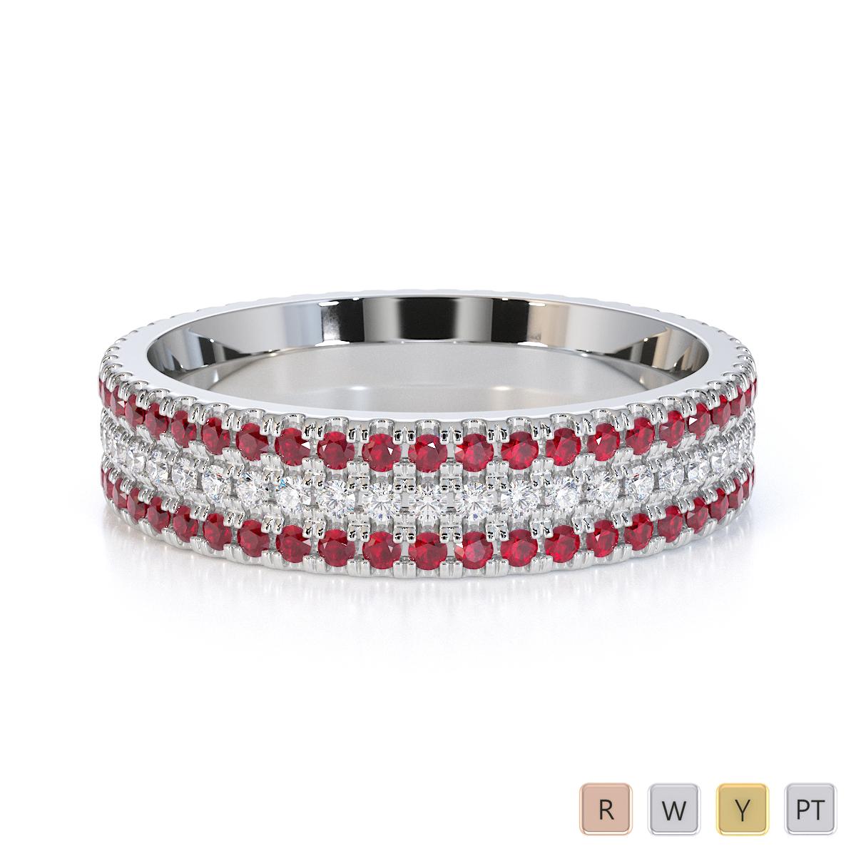 Gold / Platinum Ruby and Diamond Full Eternity Ring RZ1518