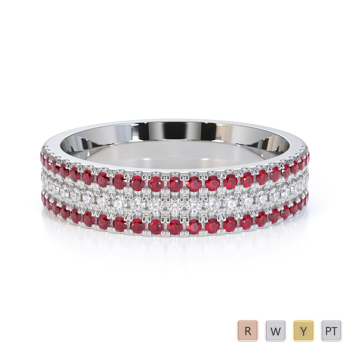 Gold / Platinum Ruby and Diamond Half Eternity Ring RZ1519