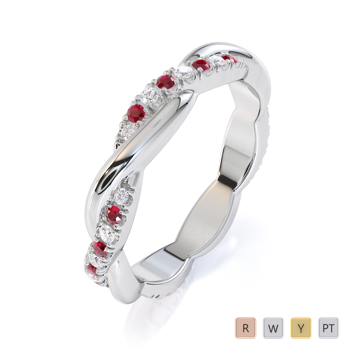 Gold / Platinum Ruby and Diamond Full Eternity Ring RZ1522