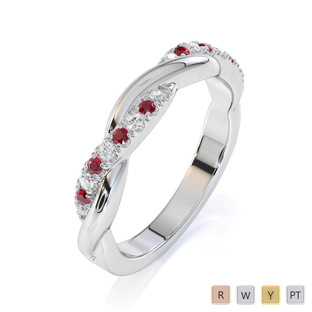 Gold / Platinum Ruby and Diamond Half Eternity Ring RZ1523