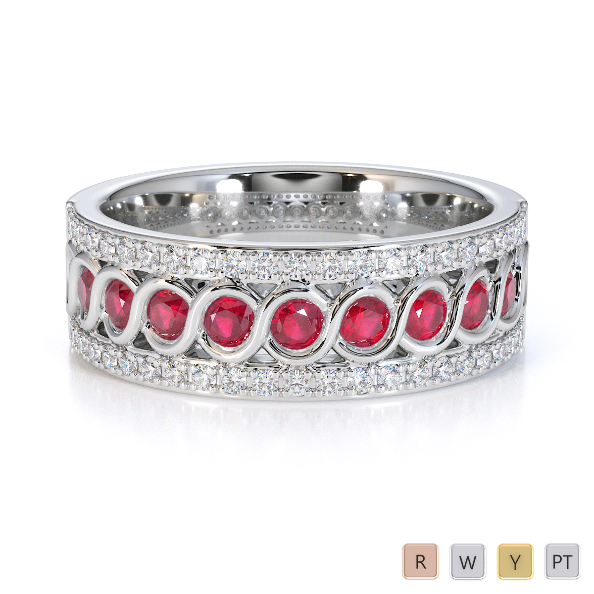 Gold / Platinum Ruby and Diamond Half Eternity Ring RZ1525