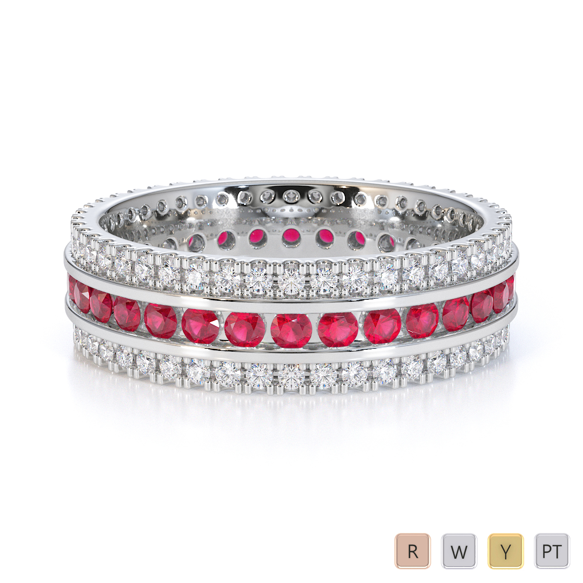 Gold / Platinum Ruby and Diamond Full Eternity Ring RZ1526