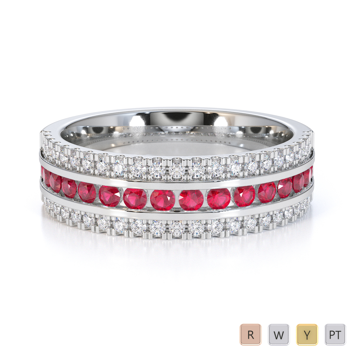 Gold / Platinum Ruby and Diamond Half Eternity Ring RZ1527