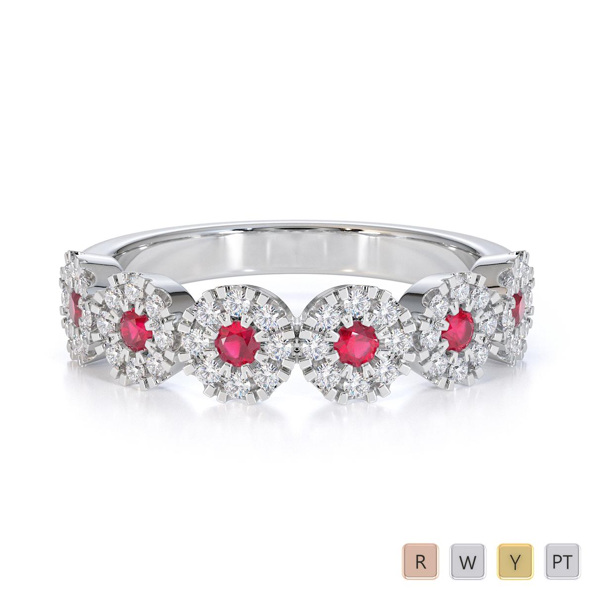 Gold / Platinum Ruby and Diamond Half Eternity Ring RZ1531