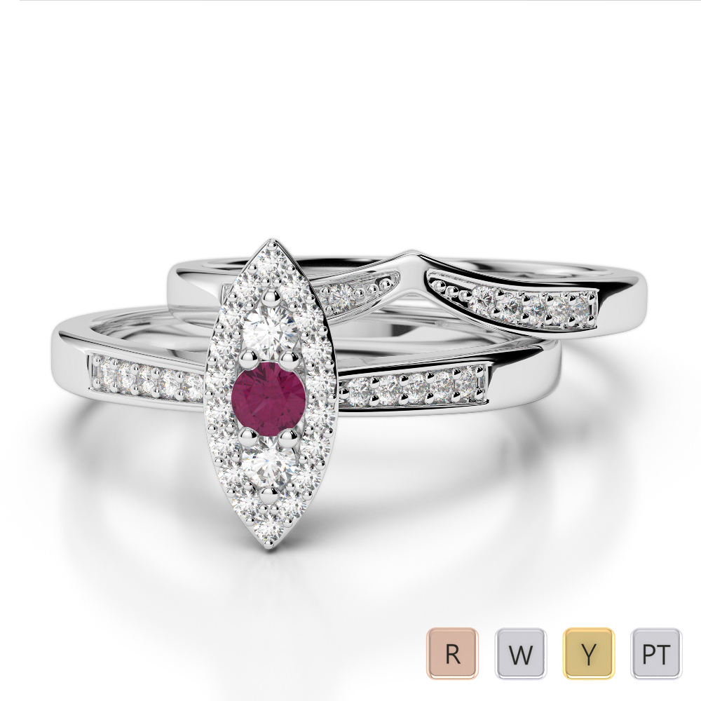 Gold / Platinum Round cut Ruby and Diamond Bridal Set Ring AGDR-1050