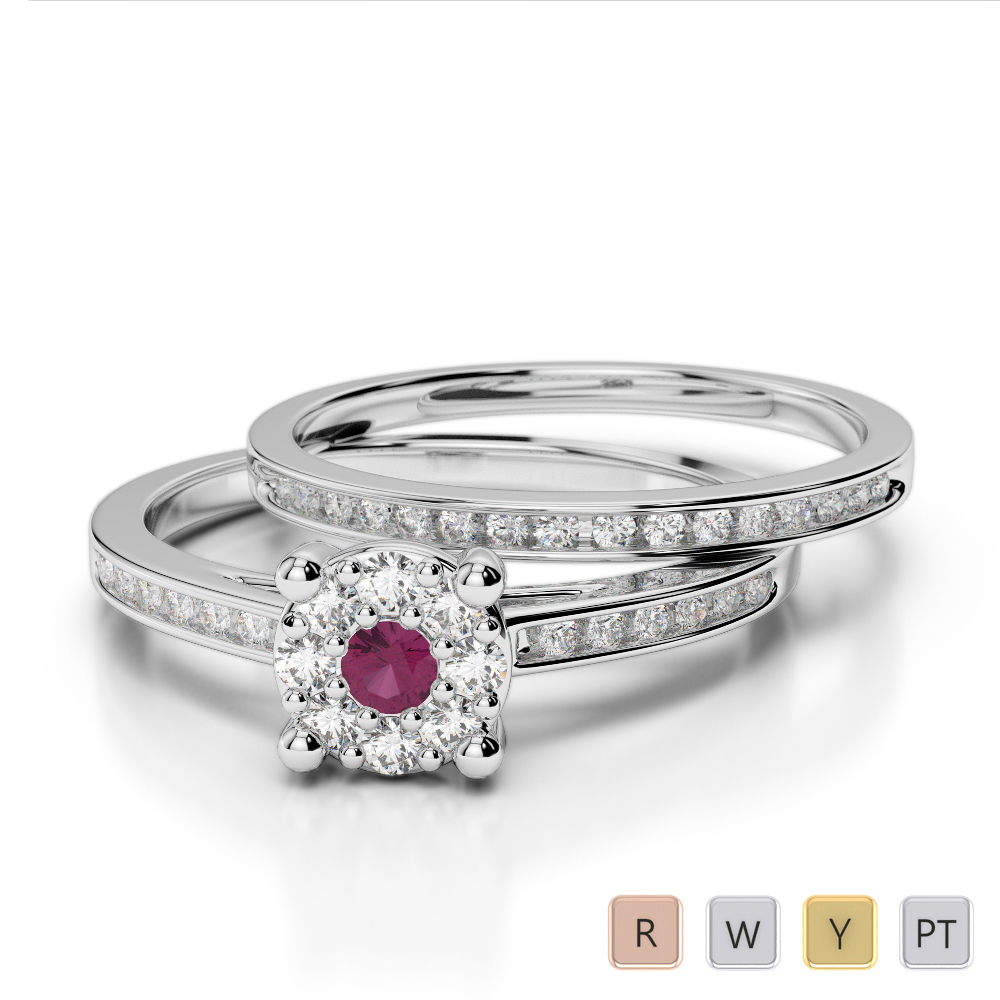 Gold / Platinum Round cut Ruby and Diamond Bridal Set Ring AGDR-1052