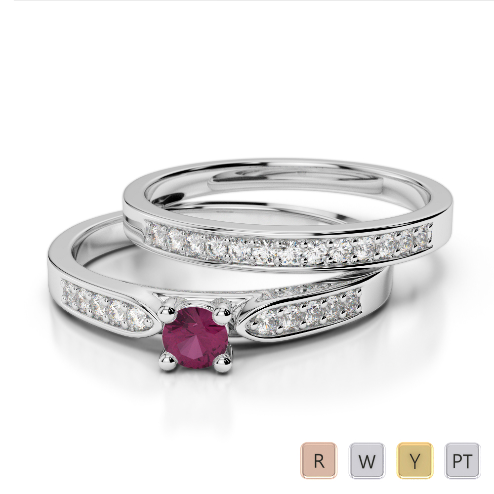 Gold / Platinum Round cut Ruby and Diamond Bridal Set Ring AGDR-1054