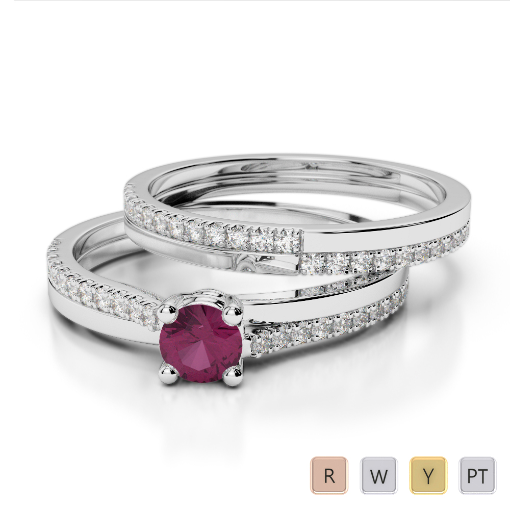 Gold / Platinum Round cut Ruby and Diamond Bridal Set Ring AGDR-1060