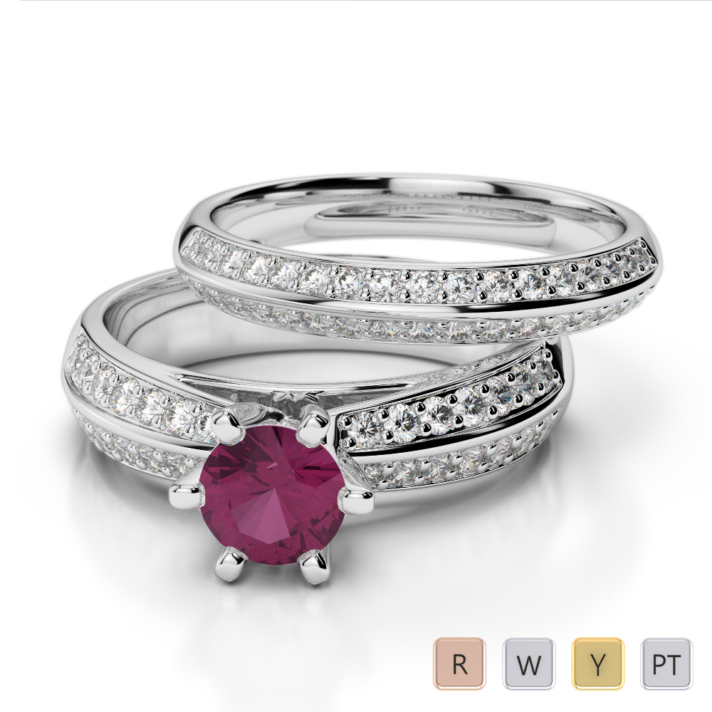 Gold / Platinum Round cut Ruby and Diamond Bridal Set Ring AGDR-1147