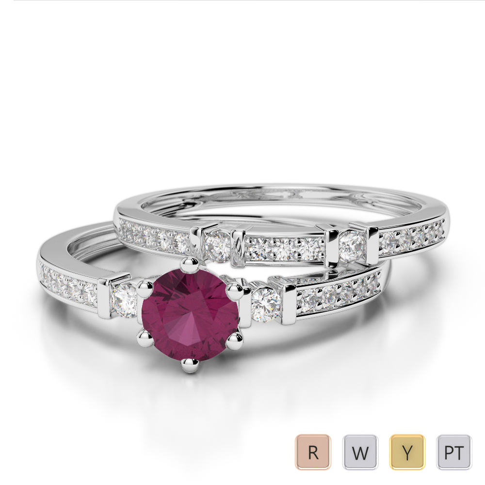 Gold / Platinum Round cut Ruby and Diamond Bridal Set Ring AGDR-1150