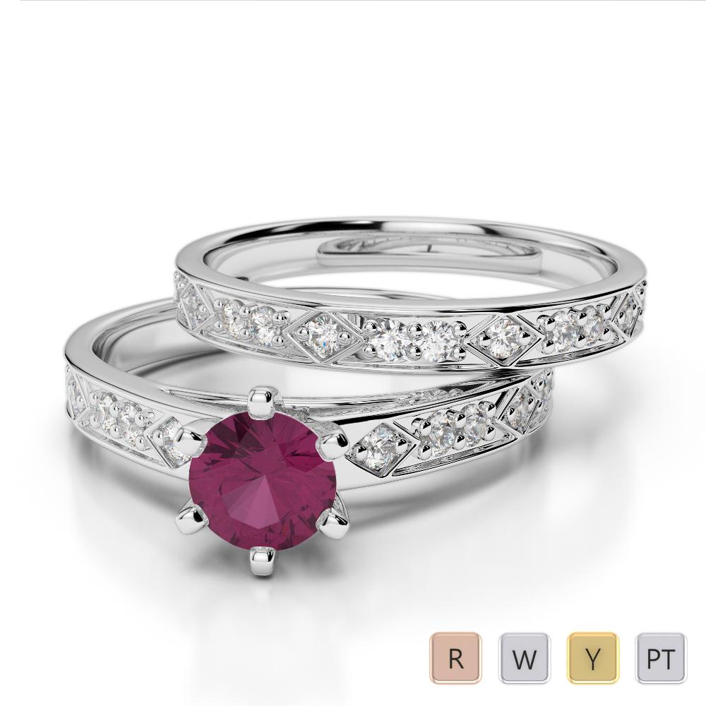 Gold / Platinum Round cut Ruby and Diamond Bridal Set Ring AGDR-1151