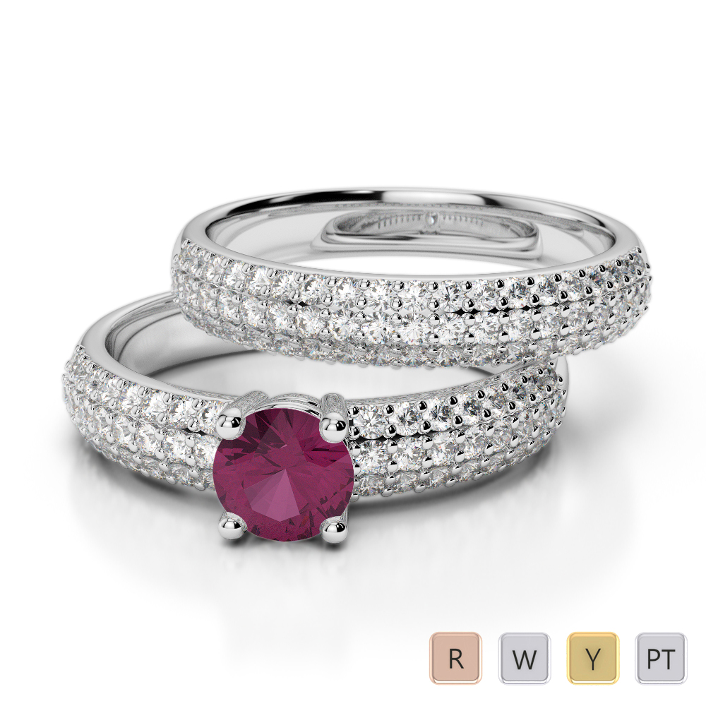 Gold / Platinum Round cut Ruby and Diamond Bridal Set Ring AGDR-1152