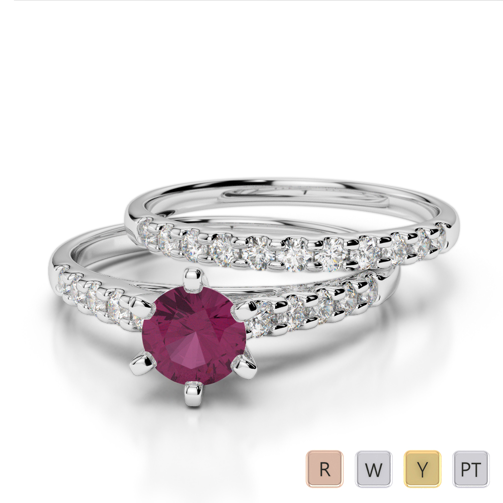 Gold / Platinum Round cut Ruby and Diamond Bridal Set Ring AGDR-1153
