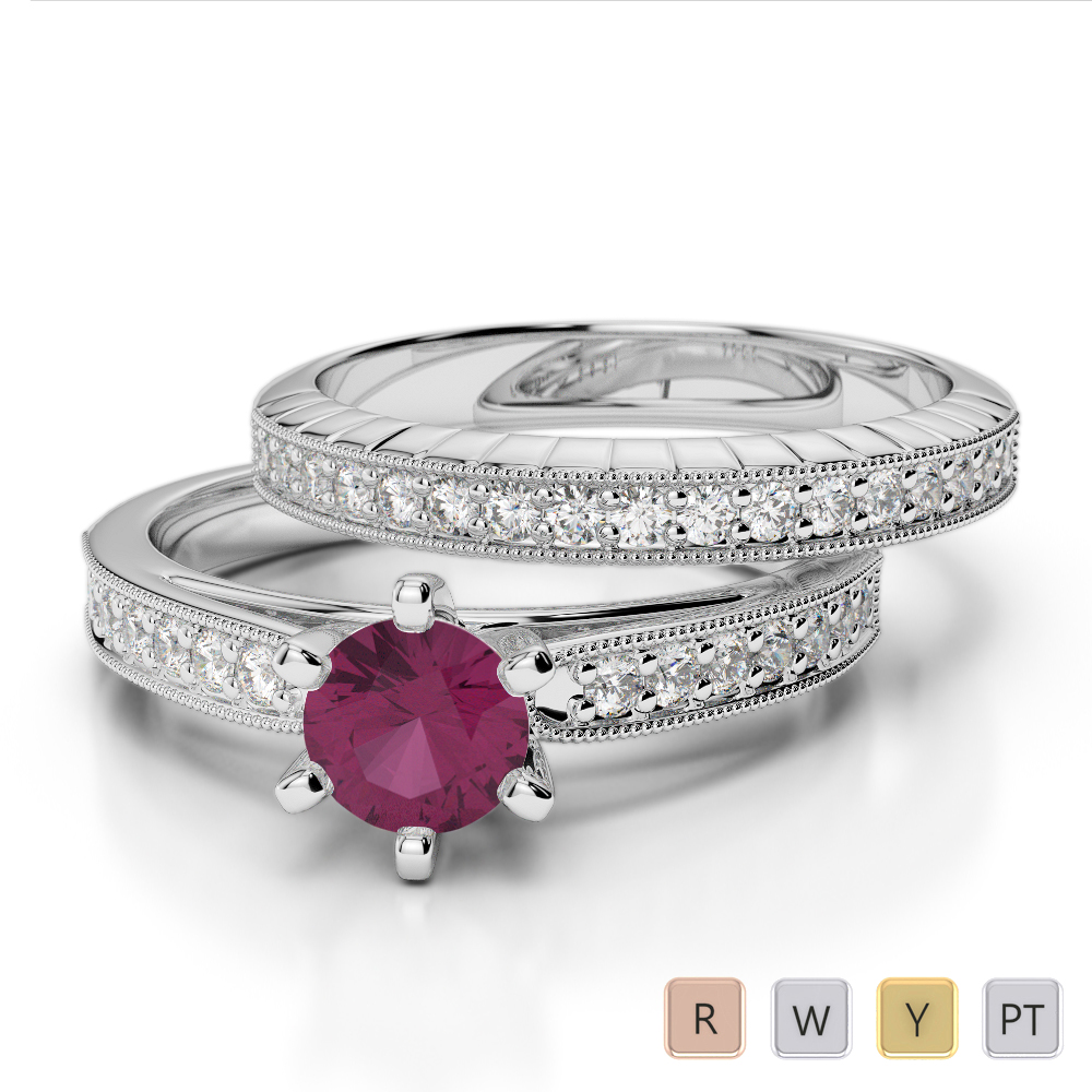 Gold / Platinum Round cut Ruby and Diamond Bridal Set Ring AGDR-1154