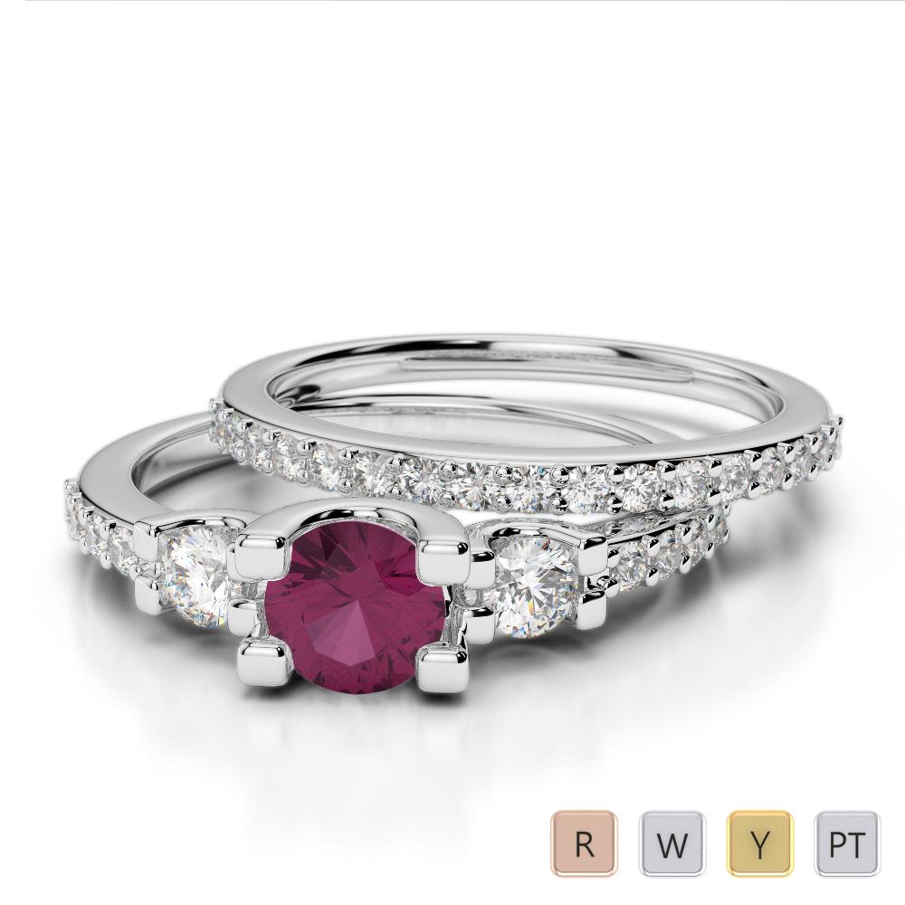 Gold / Platinum Round cut Ruby and Diamond Bridal Set Ring AGDR-1155