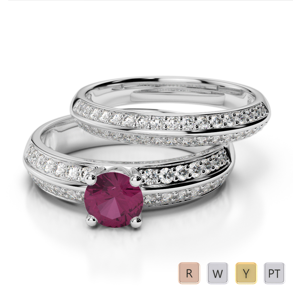 Gold / Platinum Round cut Ruby and Diamond Bridal Set Ring AGDR-1156