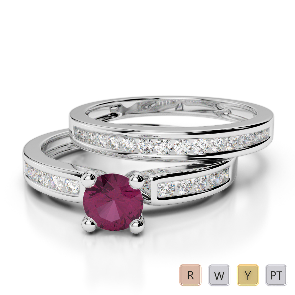 Gold / Platinum Round cut Ruby and Diamond Bridal Set Ring AGDR-1157